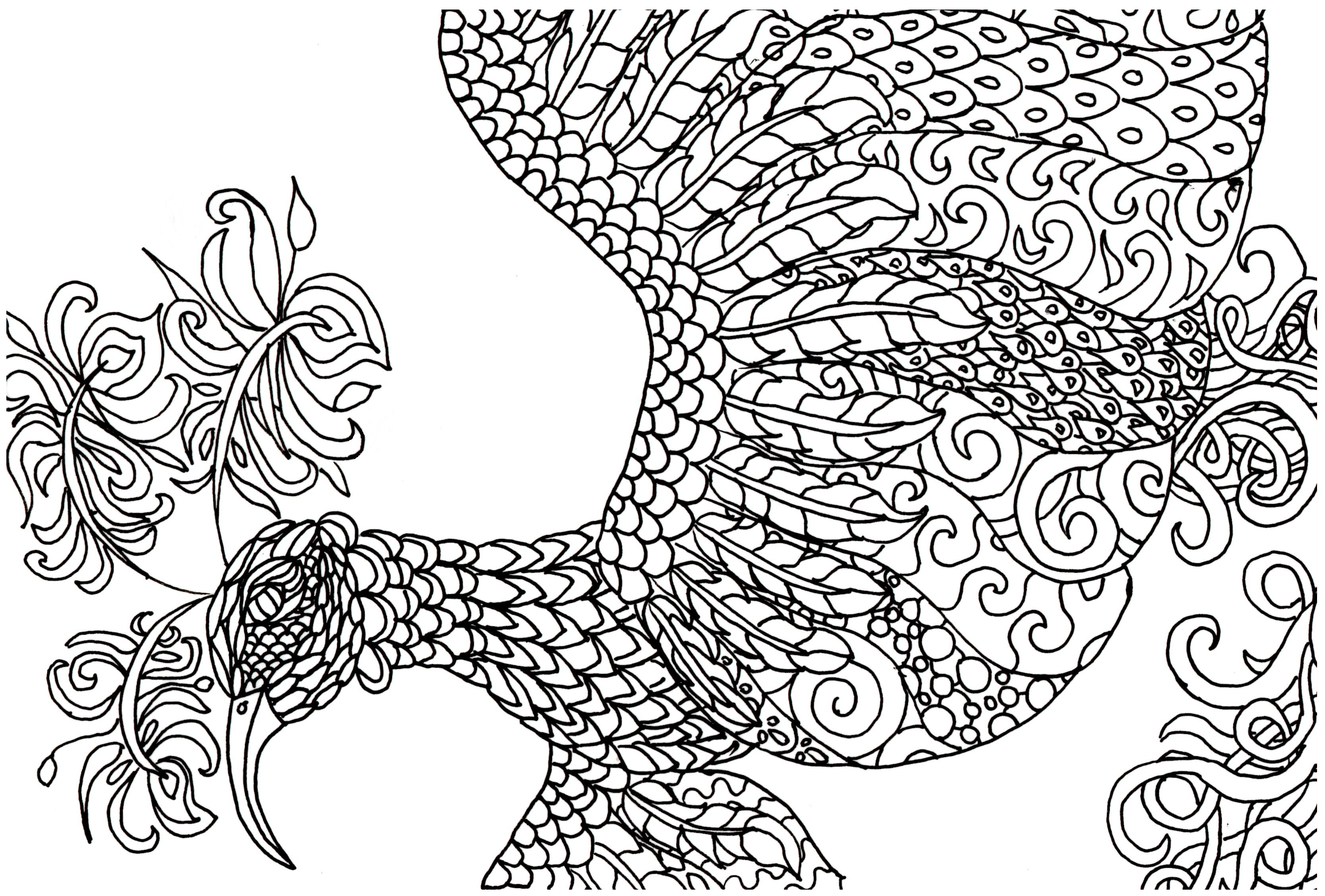Adults colouring book pages - Fantasy Bird Simplified