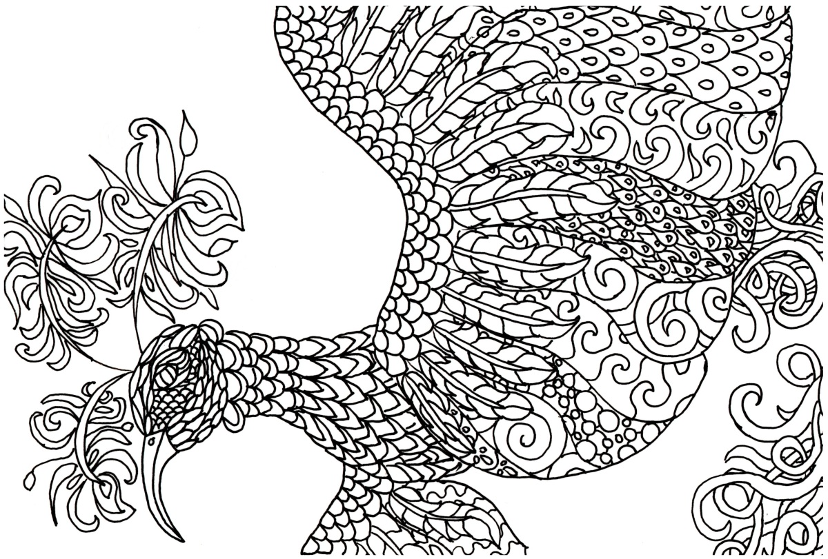 FREE! Adult Coloring Book Page - Fantasy Bird